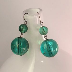 Lucite Turquoise Dangling Earrings